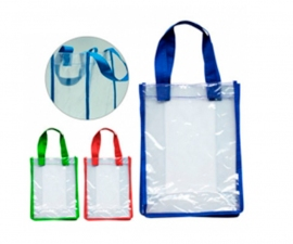 Bolsa en clear con borde y asas de colores